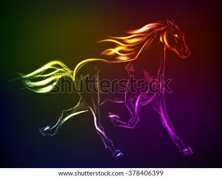 Horse. Hand-drawn neon illustration - stock vector