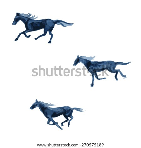 Horse hand drawn watercolor vector abstract illustration isolated on white background, decorative animal for design pattern, greeting card, scrapbook, tattoo, logo, mascot design, web sites, printing - stock vector
