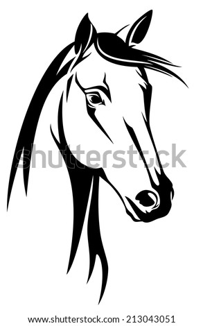 horse head black and white design - mustang vector portrait - stock vector