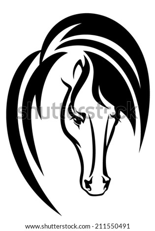 horse head black and white vector design - animal simple portrait outline - stock vector