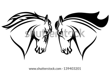 horse head vector design - black and white outline - stock vector