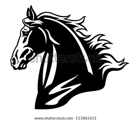 horse head vector illustration,black and white picture isolated on white background - stock vector