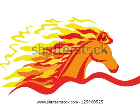 Horse head with a fiery mane isolated in profile over white.