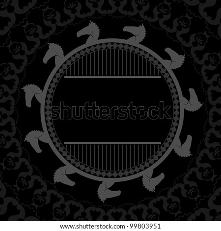 horse heads black background - stock vector