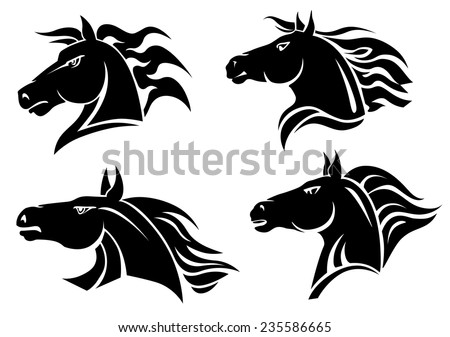 Horse heads for mascot and tattoo design - stock vector