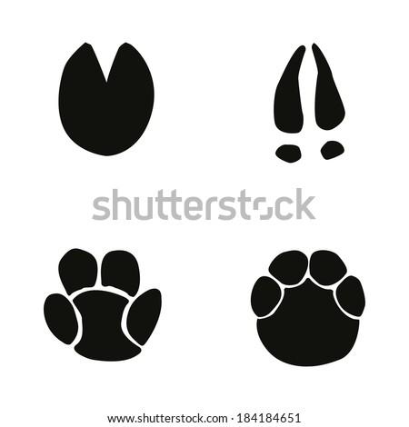 horse, hippopotamus, deer, elephant footprint - stock vector