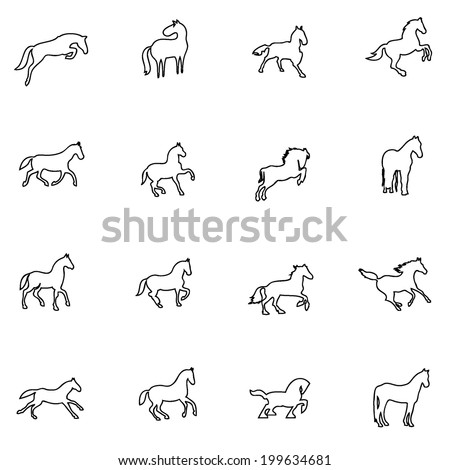Horse icon line drawing  by hand Set 1 - stock vector