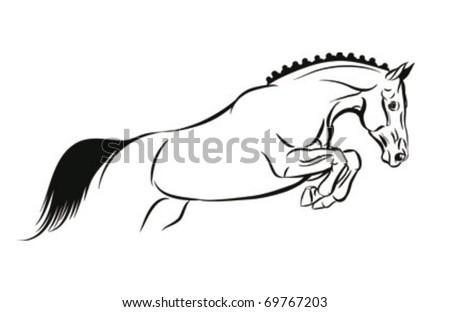 horse jump vector sketch - stock vector