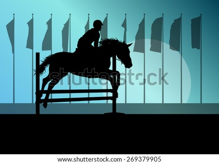 Horse jumping, overcoming obstacles, equestrian sport show with horse and rider vector background concept - stock vector