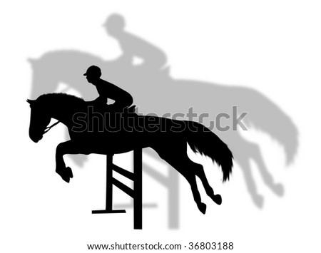 Horse jumping with shadow on the background - stock vector