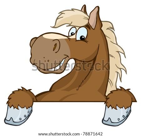 Horse Mascot Cartoon Head - stock vector