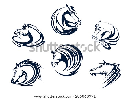 Horse mascots and emblems with stallions, mares and mustangs for equestrian sports, logo or tattoo design - stock vector