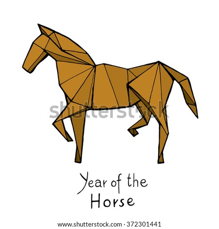 Horse origami, Chinese Zodiac. Hand drawn vector illustration