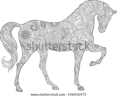 Horse ornaments - stock vector