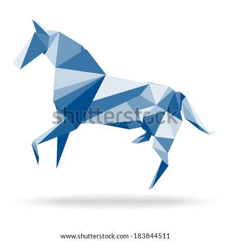 Horse Polygon. Horse abstract polygon vector. Paper horse origami. Illustration of horse in origami style. Horse abstract isolated on a white backgrounds. Horse origami isolated on a white background. - stock vector