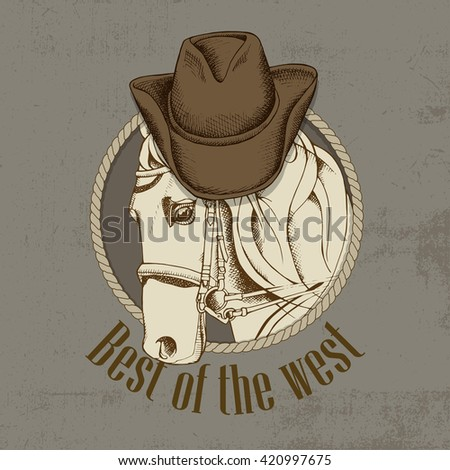 Horse portrait in a cowboy hat on beige background. Vector illustration. - stock vector