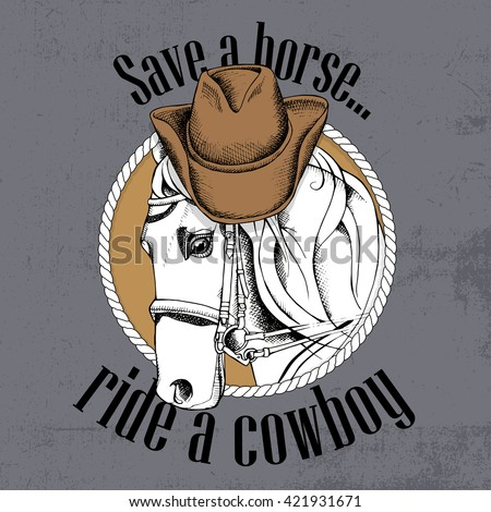 Horse portrait in a cowboy hat. Vector illustration. - stock vector