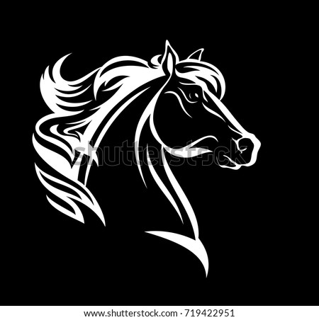 vector silhouette horses head stock vector 384420943
