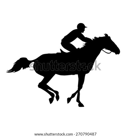 Horse Race Silhouette Of Racing With Jockey On Isolated Background And Rider