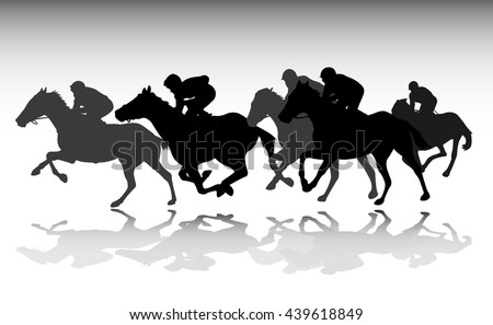 horse race silhouettes - vector