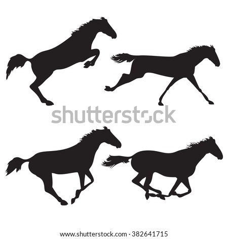 Horse racing and derby. Silhouettes of horses. Black horses on isolated background. Set of wild horses. Vector horse collection