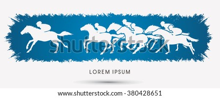 Horse racing ,Horse with jockey, designed on grunge frame background graphic vector. - stock vector