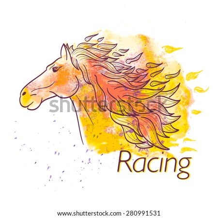 horse racing watercolor symbol - stock vector