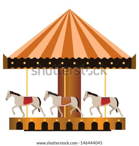 horse ride carousel - stock vector