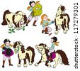 horse rider,little girl with pony,equestrian sport,set of cartoon vector images isolated on white background,children illustration - stock vector