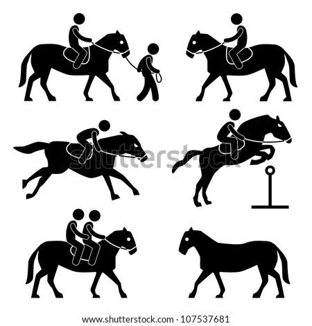 Horse Riding Training Jockey Equestrian Icon Symbol Sign Pictogram - stock vector