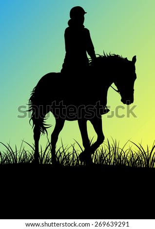 Horse riding woman  in morning sunrise vector background freedom concept - stock vector