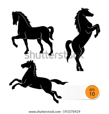 Horse silhouette on a white background;  - stock vector