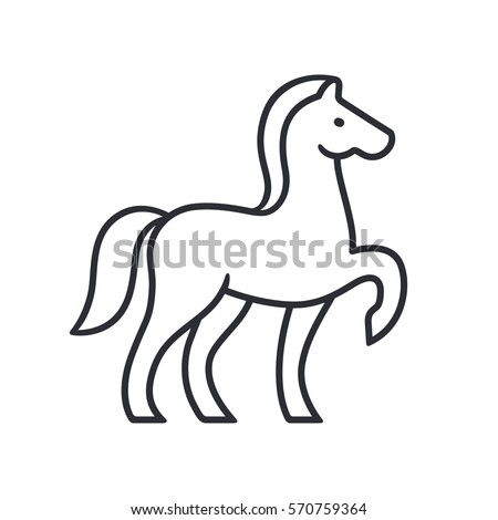 horse silhouette outline for emblem or logo simple and minimal equine vector illustration