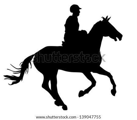 Horse silhouette, vector illustration , horse race - stock vector
