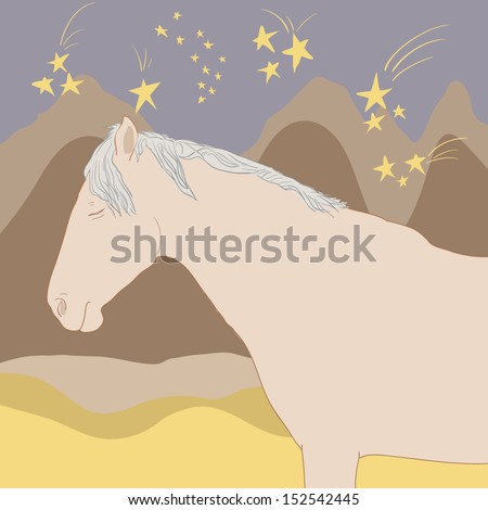 Horse sleeping at a beautiful night with stars on the sky