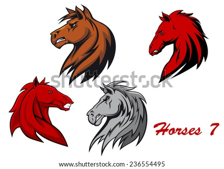 Horse stallions cartoon characters for equestrian sports and mascot or tattoo design - stock vector