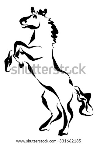 Horse stand up. Hand drawing vector illustration