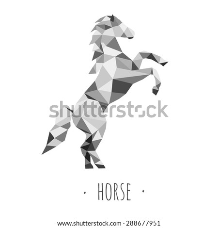 Horse Stylized Triangle Polygonal Model