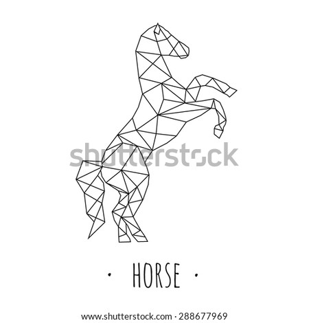 Horse stylized triangle polygonal model - stock vector