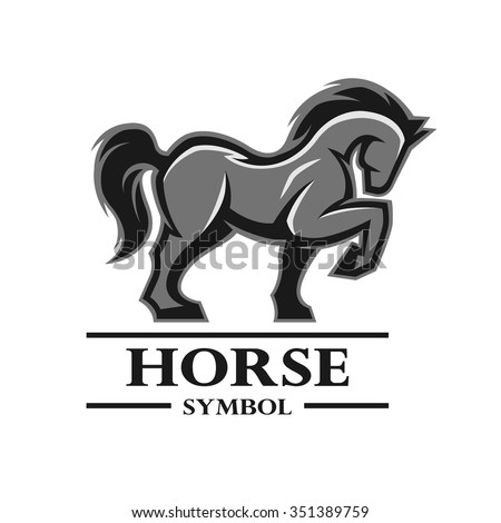 Horse symbol, logo, labels, and other design. Artistic silhouette of animals. - stock vector