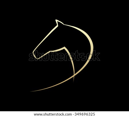 Horse symbolic logo element, vector