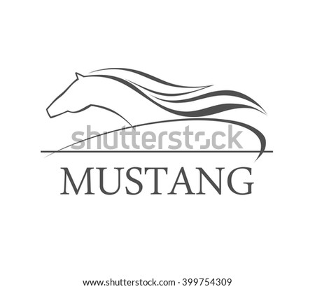 Horse symbolic logo element, vector - stock vector