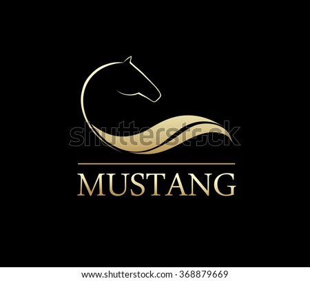 Horse symbolic logo element, vector icon