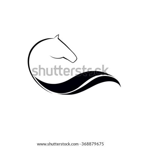 Horse symbolic logo element, vector icon - stock vector