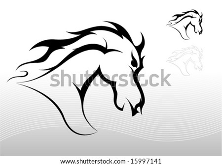 Horse tattoo tribal - stock vector