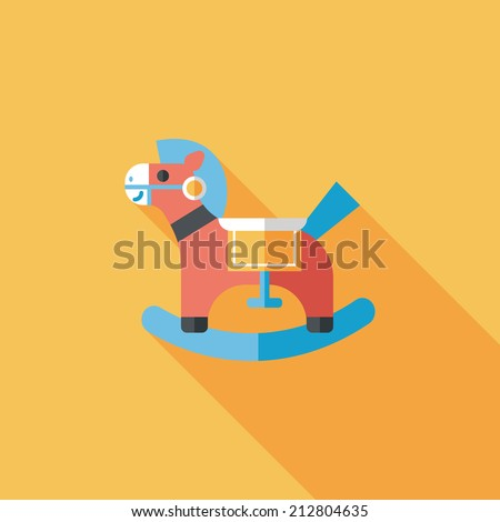 horse toy flat icon with long shadow,eps10 - stock vector