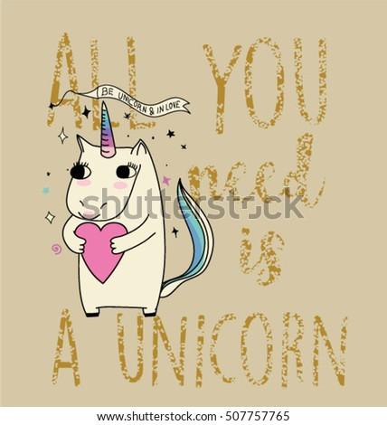 horse unicorn illustration with slogan
