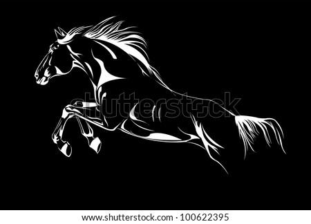 horse vector jump on black - stock vector