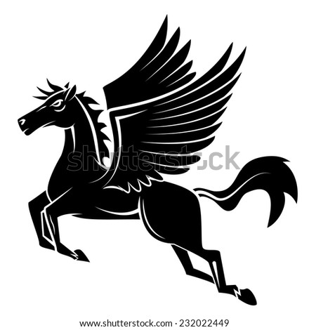Horse Wing Tattoo - stock vector