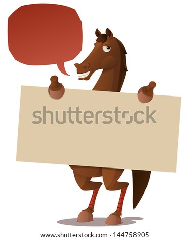 horse with a blank sign - stock vector